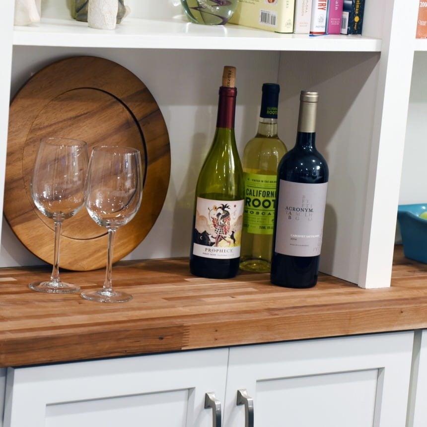 Butcher Block Countertop Custom Kitchen Storage with Cabinets