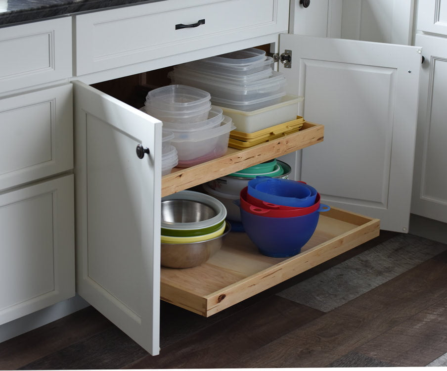 Organized kitchen cabinet with drawers that pull out