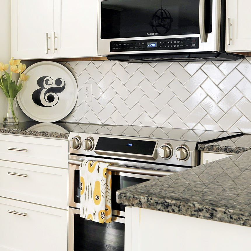 White Chevron Subway Tile Kitchen Backsplash