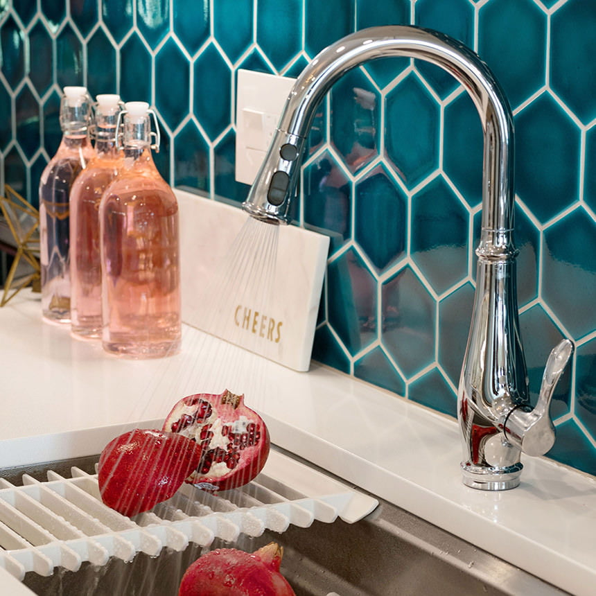 Hexagon Ceramic Tile Kitchen Backsplash