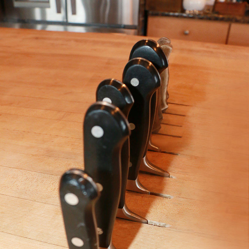 Butcher Block Island Knife Slots
