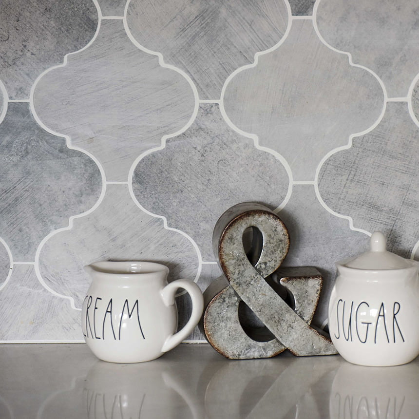 Cement Flourish Tile Kitchen Backsplash