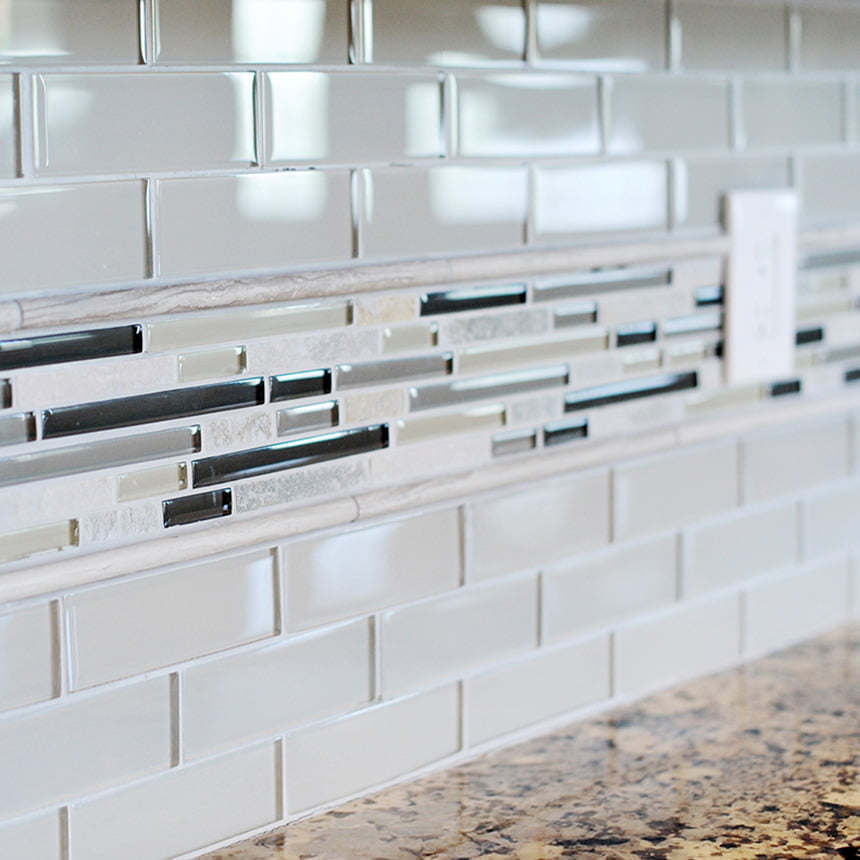 Ceramic Tile with Mosaic Accent Kitchen Backsplash