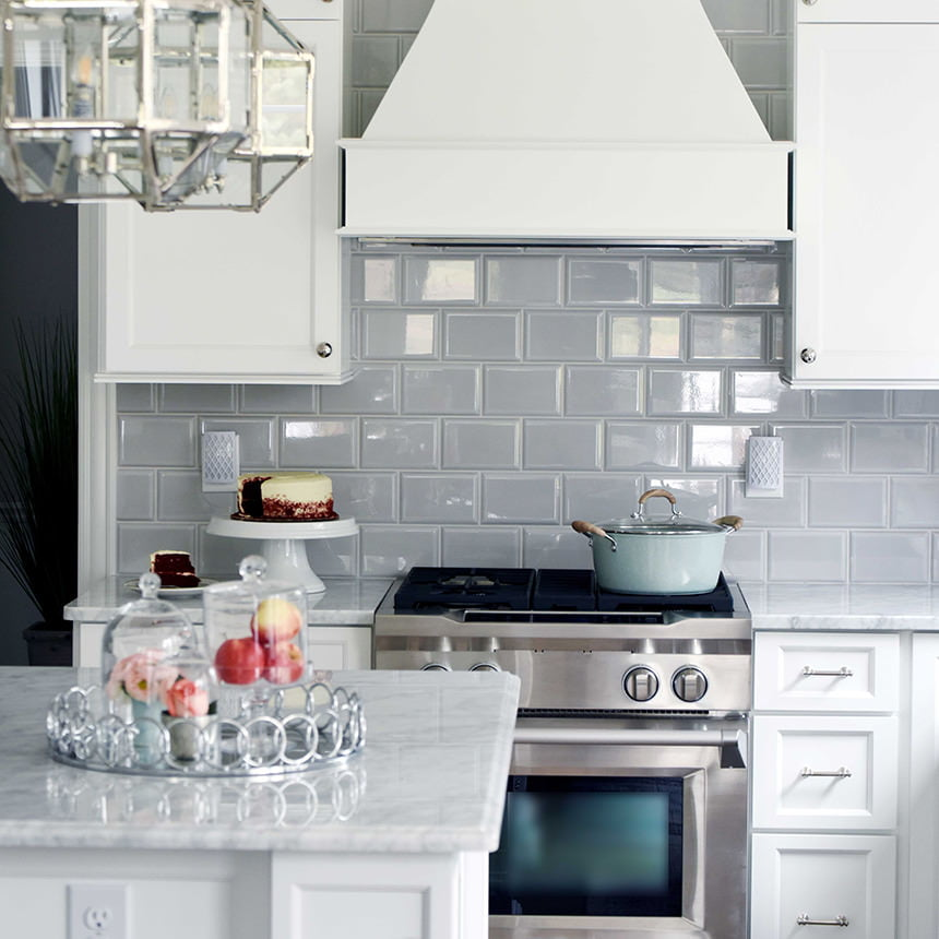 Grey Subway Tile Kitchen Backsplash