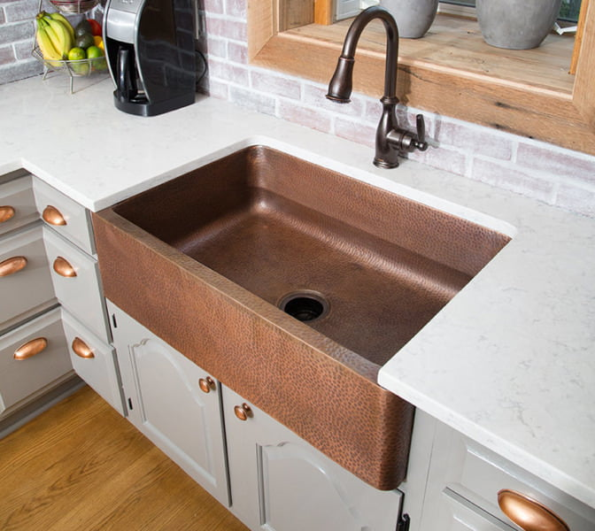 Hammered Copper Apron Kitchen Sink