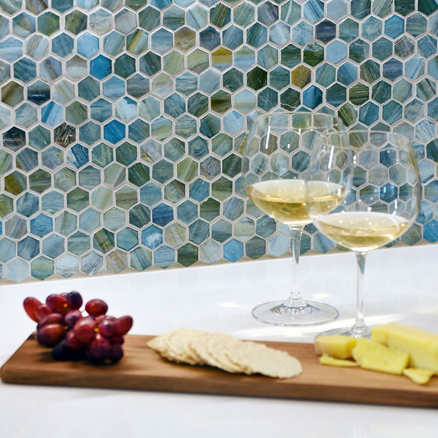 Hexagon Mosaic Tile Kitchen Backsplash