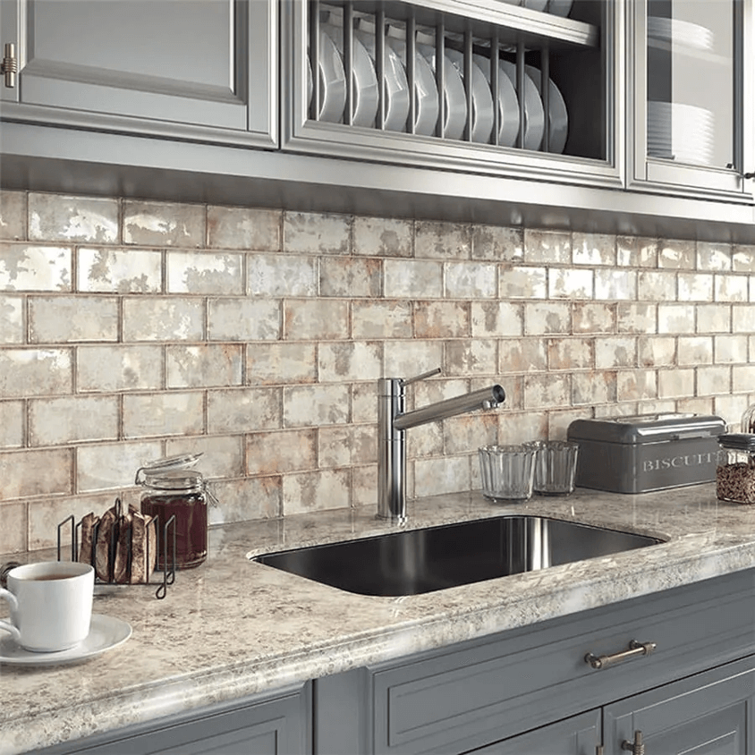 rustic kitchen backsplash with weathered tile